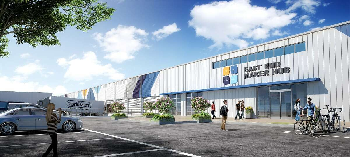 The East End Maker Hub, a 300,000-square-foot industrial makerspace and manufacturing center, will be the new home of TX/RX Labs. The campus, at 6501 Navigation Blvd., is being developed by Urban Partnerships Community Development Corp.