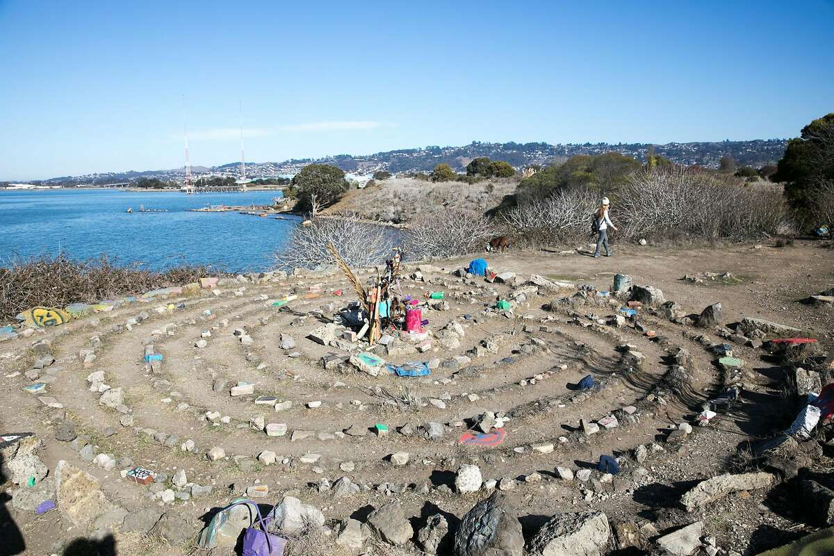 A rock labyrinth is one of the many works of art on the Albany Bulb on Dec. 2, 2020. The Bulb is a former construction debris landfill peninsula that sticks out into San Francisco Bay in Albany, Calif.