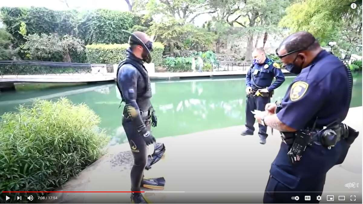 A popular YouTuber from Florida was able to swim in the River Walk portion of the San Antonio River for three to five minutes before officials ordered him to get out, according to a video posted on Brandon Jordan's channel last month.