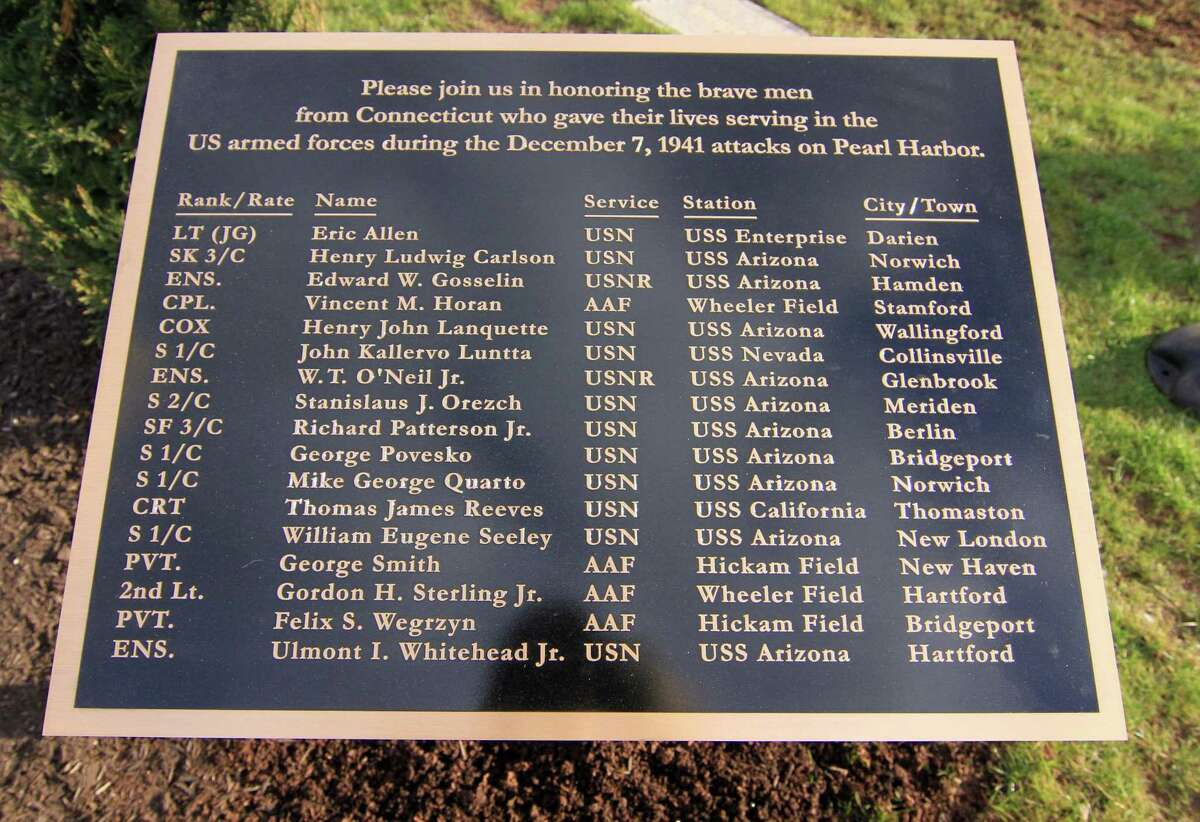 A plaque memorializing the 17 Connecticut residents killed in the attack on Pearl Harbor in Hawaii on Dec. 7, 1941.