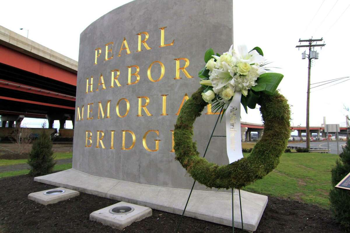 A file photo from a Pearl Harbor Memorial Park Dedication Ceremony in New Haven, Conn., on Thursday, Dec. 6, 2018.