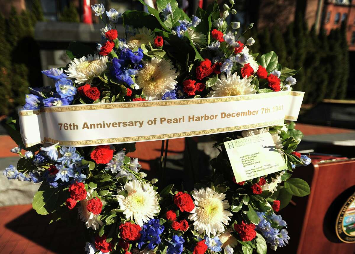 File photo from the Pearl Harbor Remembrance Ceremony on the 76th anniversary of the Pearl Harbor attack at the World War II Memorial on Broad Street in Bridgeport, Conn., on Thursday, December 7, 2017. Ulmont Whitehead from Hartford - Navy George J. Smith from New Haven - Army Air Forces Edward Gosselin from Hamden - Navy John Luntta from Canton - Navy W.T. O'Neill Jr. from Stamford - Navy Richard Patterson from Berlin - Navy William Seeley from New London - Navy Felix Wegrzyn from Bridgeport - Army Air Forces Eric Allen from Darien - Navy