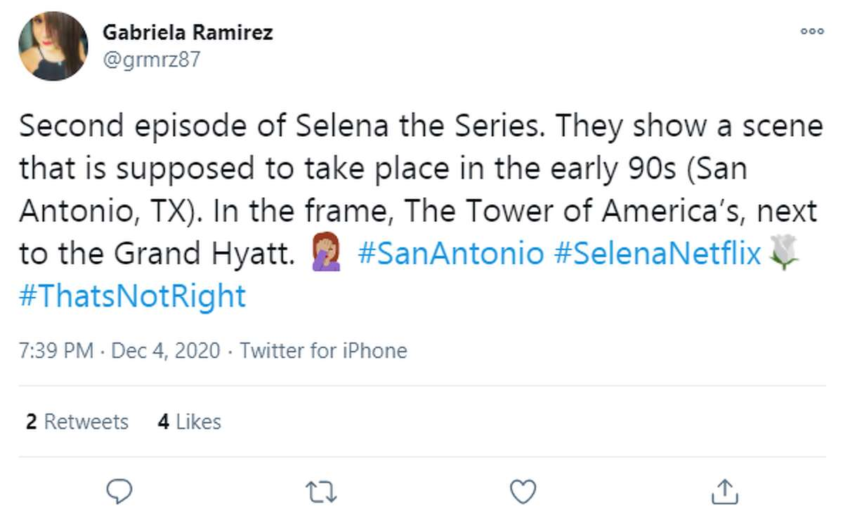@grmrz87: Second episode of Selena the Series. They show a scene that is supposed to take place in the early 90s (San Antonio, TX). In the frame, The Tower of America's, next to the Grand Hyatt. Woman facepalming #SanAntonio #SelenaNetflix #ThatsNotRight