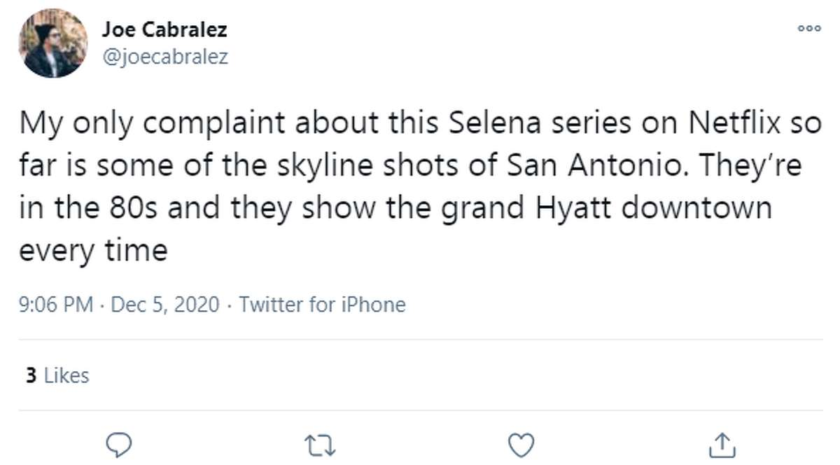 @joecabralez: My only complaint about this Selena series on Netflix so far is some of the skyline shots of San Antonio. They're in the 80s and they show the grand Hyatt downtown every time.
