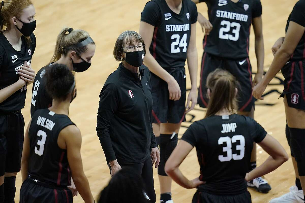 Stanford coach Tara VanDerveer speaks with her players during the second half of Saturday's game against UNLV in Las Vegas. The Cardinal took over the No. 1 spot in the Associated Press top 25 poll on Monday.