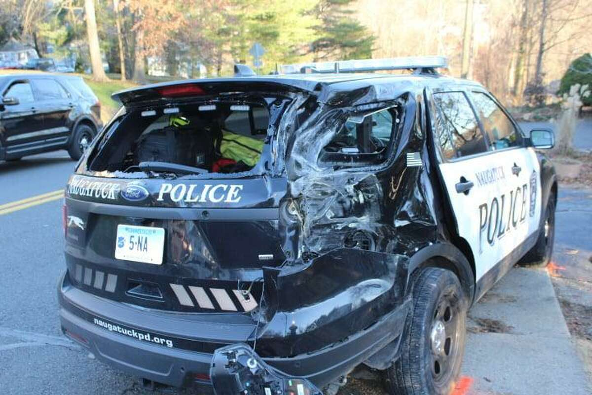 A driver collided with a police cruiser in Naugatuck, Conn., on Sunday, Dec. 6, 2020, according to police.