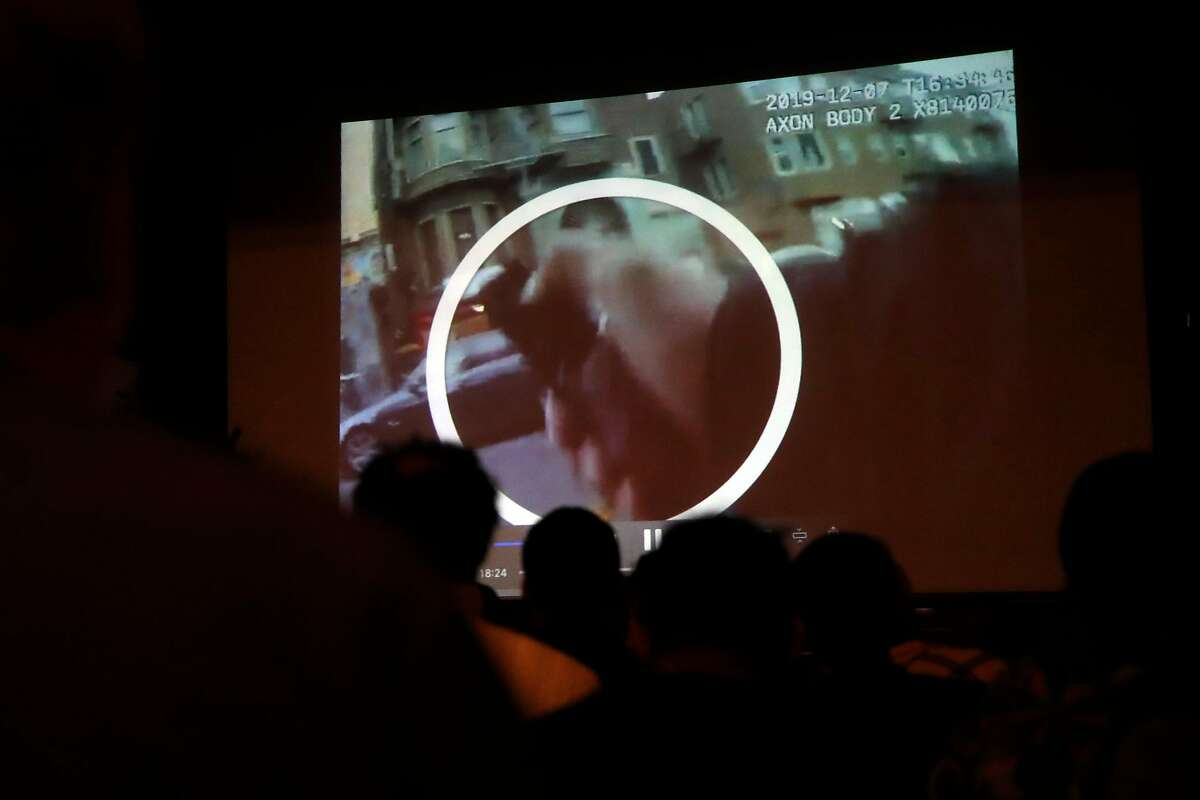 SF Police officer body cam video is shown during SF Police town hall, about recent officer involved shooting of Jamaica Hampton, at Cesar Chavez Elementary School in San Francisco, Calif., on Tuesday, December 17, 2019.