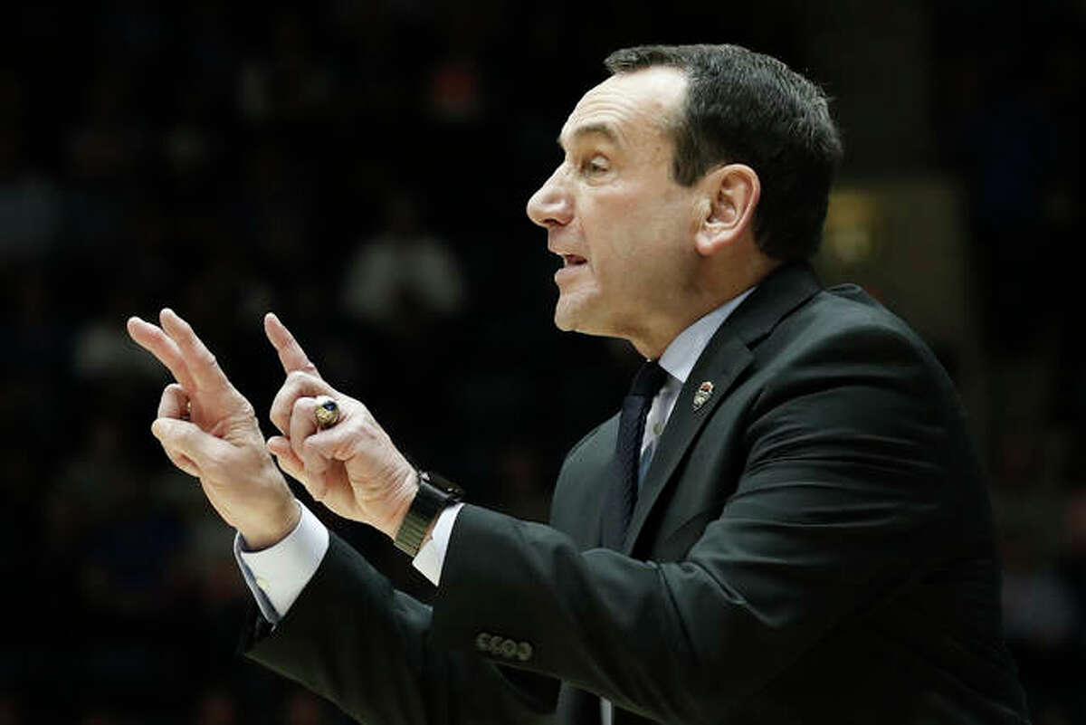 In this Jan. 28, 2020, file photo, Duke coach Mike Krzyzewski gestures during the second half of the team's NCAA college basketball game against Pittsburgh in Durham, N.C.