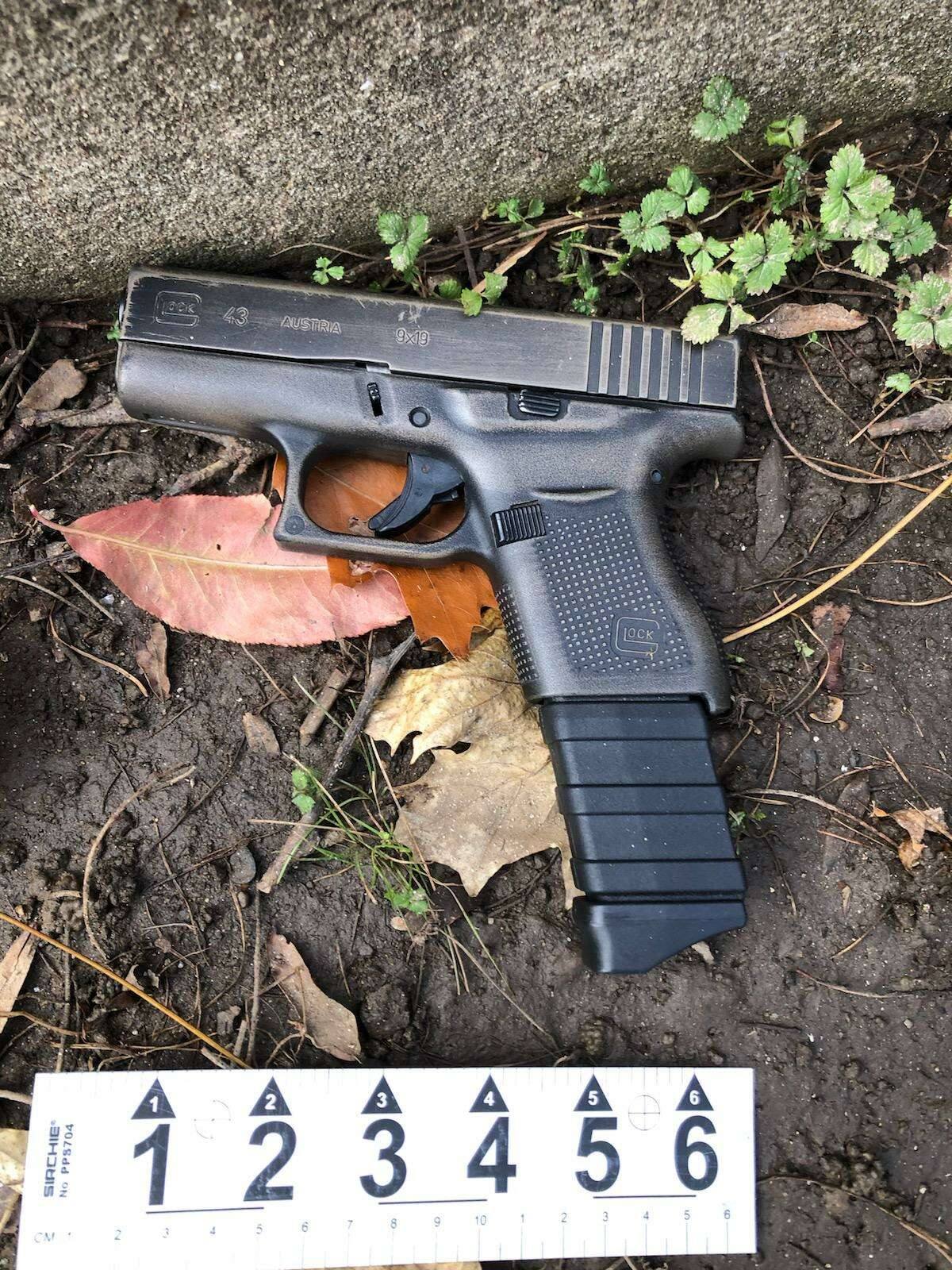 Police say this 9mm Glock semiautomatic pistol was found Monday morning at the scene of a shooting that took place on West Broad Street Sunday afternoon, Dec. 6, 2020.