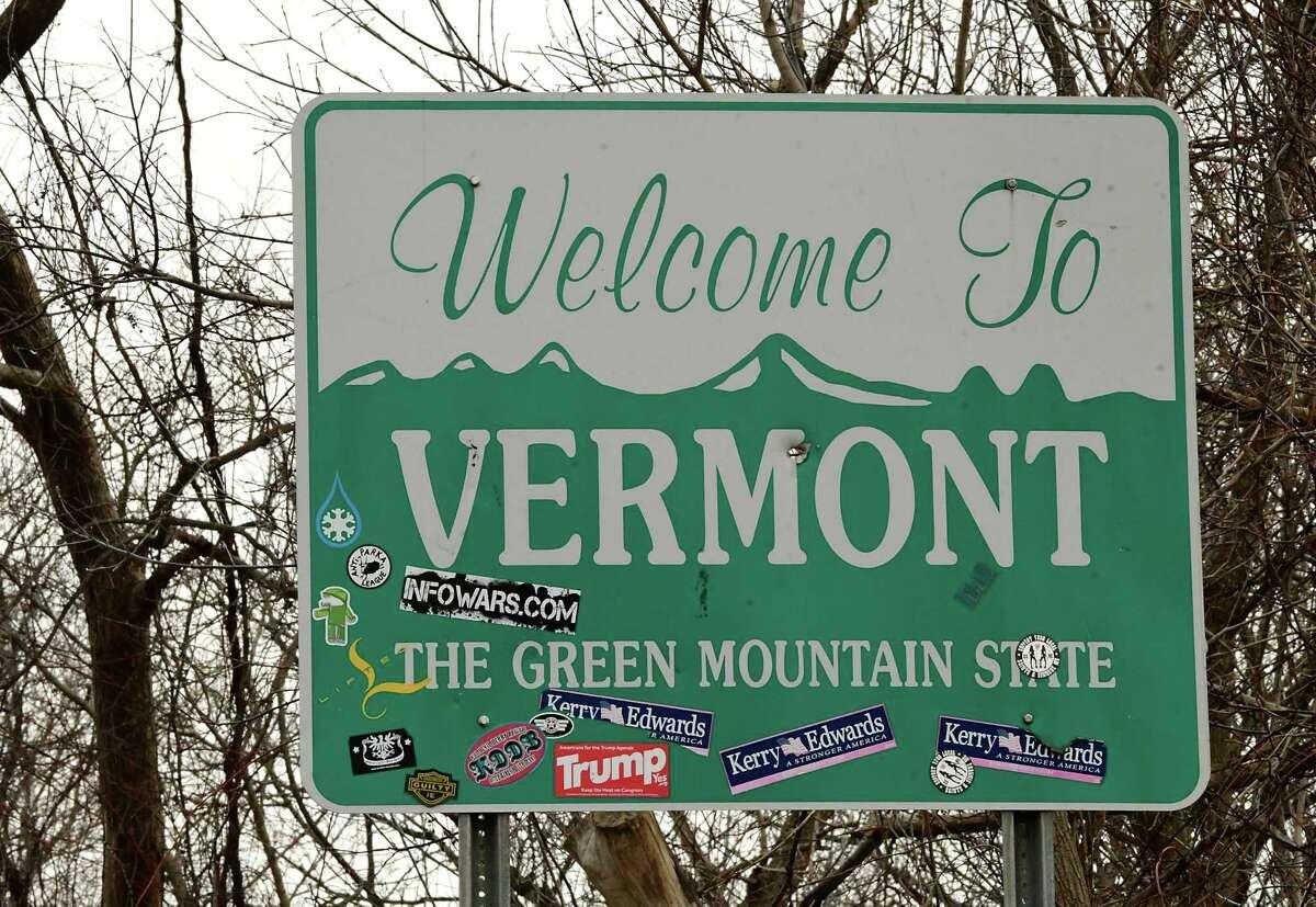 The Welcome to Vermont sign on Rt. 7 heading into Bennington is seen on Monday, Dec. 7, 2020 in Hoosick, N.Y. (Lori Van Buren/Times Union)