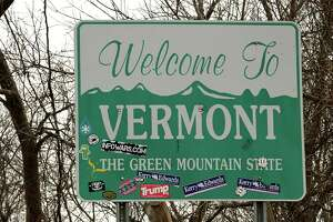 The Welcome to Vermont sign on Rt. 7 heading into Bennington is seen on Monday, Dec. 7, 2020 in Hoosick, N.Y. (Lori Van Buren/Times Union)