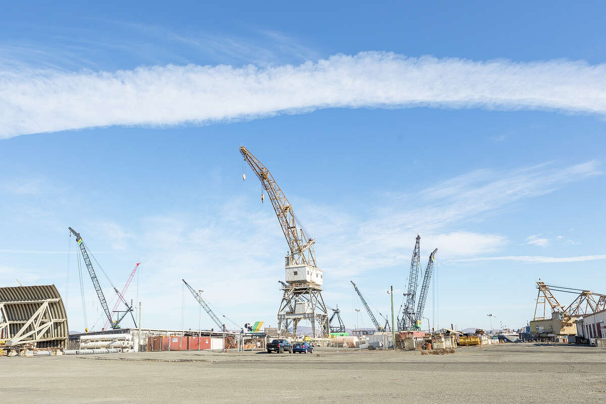 Mare Island, Vallejo, photographed Nov. 25, 2020, is now home to a dry dock, factory operations, a university and other businesses and organizations.