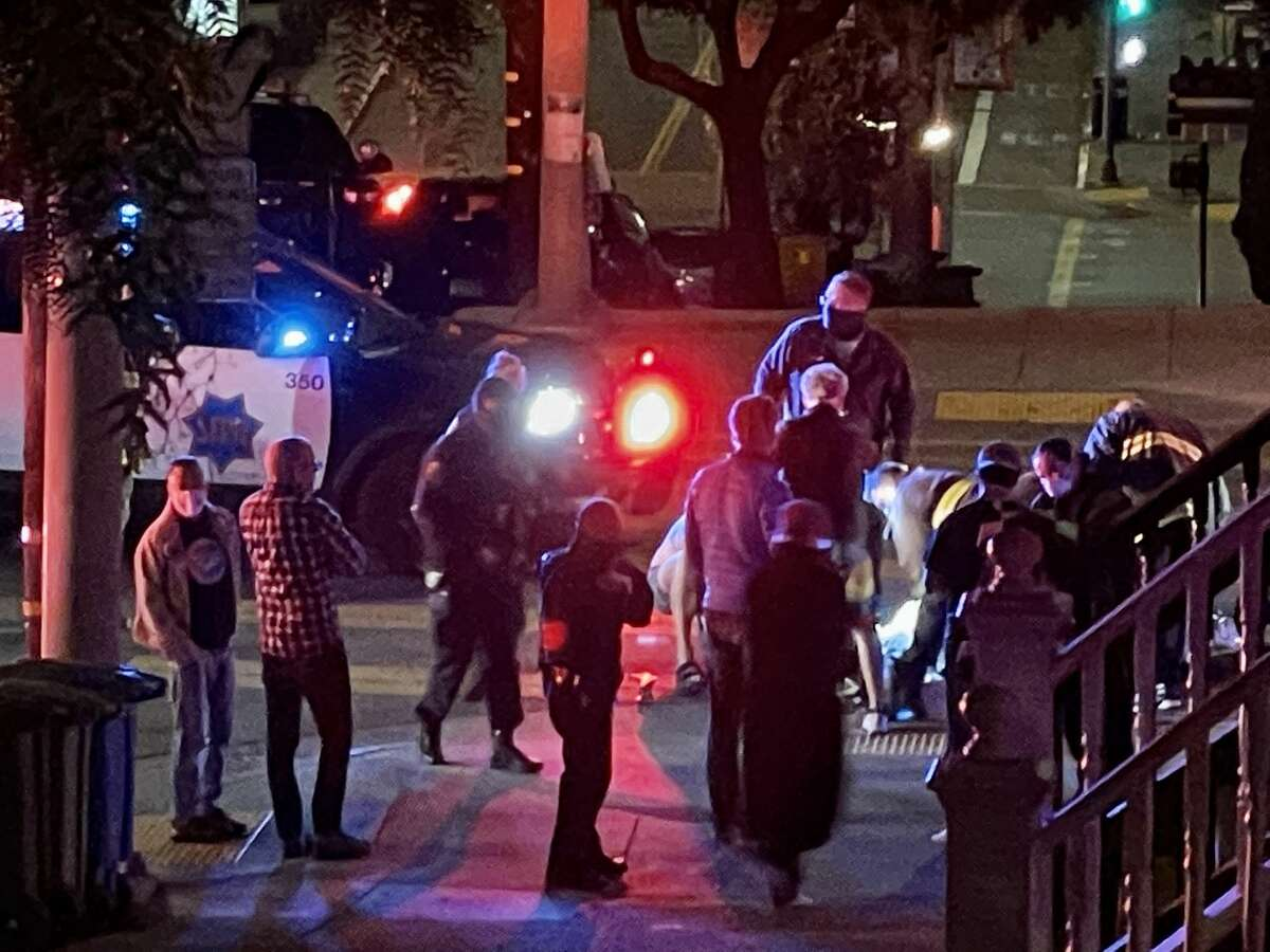 Police are searching for two suspects who allegedly robbed and shot a man in San Francisco's Noe Valley neighborhood late Sunday night, according to the San Francisco Police Department.