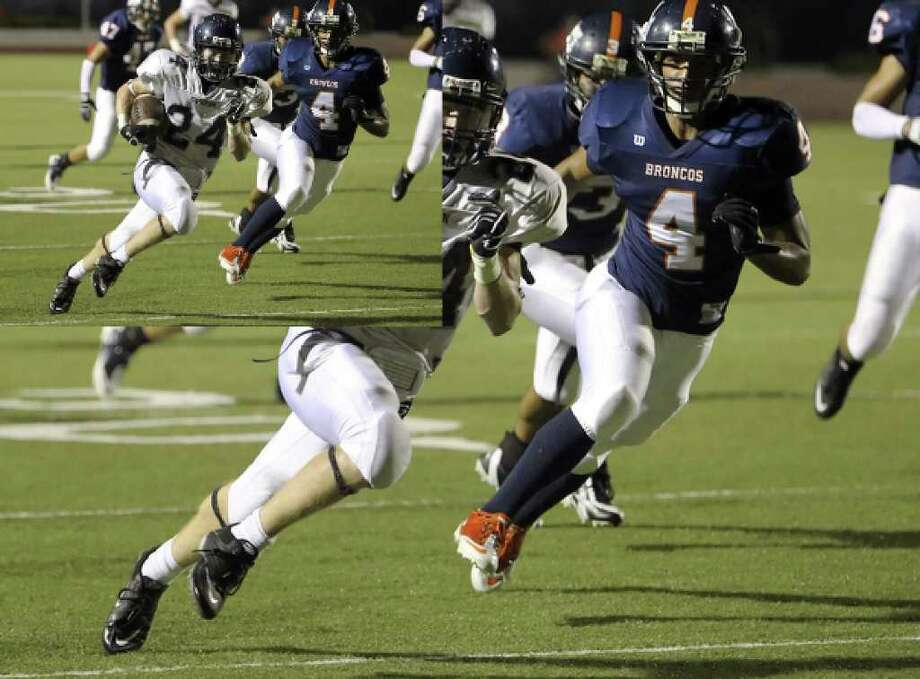 Boerne Champion's Cody Mallory (24) sprints past Brandeis' Rodolfo Reyna (04) after a reception and runs 35 yards for a touchdown at Farris Stadium on Thursday, Sept. 2, 2010. Kin Man Hui/kmhui@express-news.net