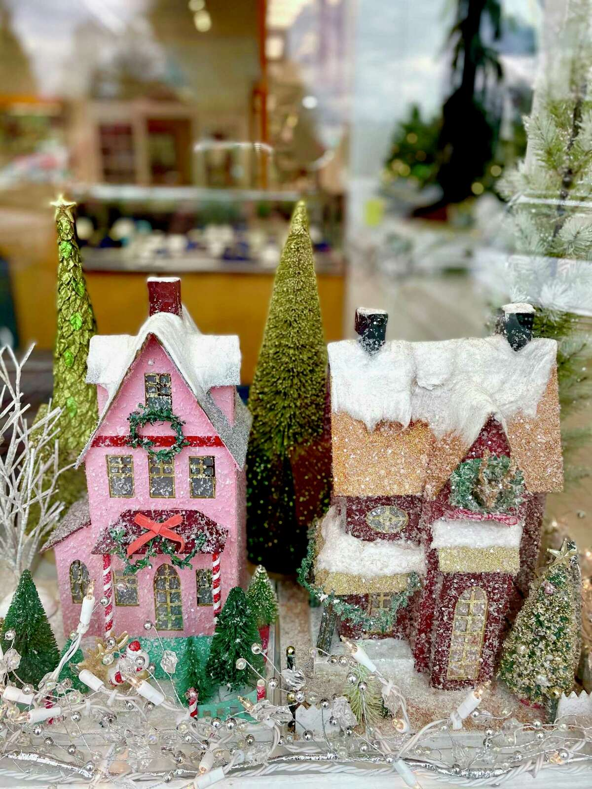 Lawrence Jeffrey Jewelers on West Street in Litchfield is displaying a collection of bright little houses this year.