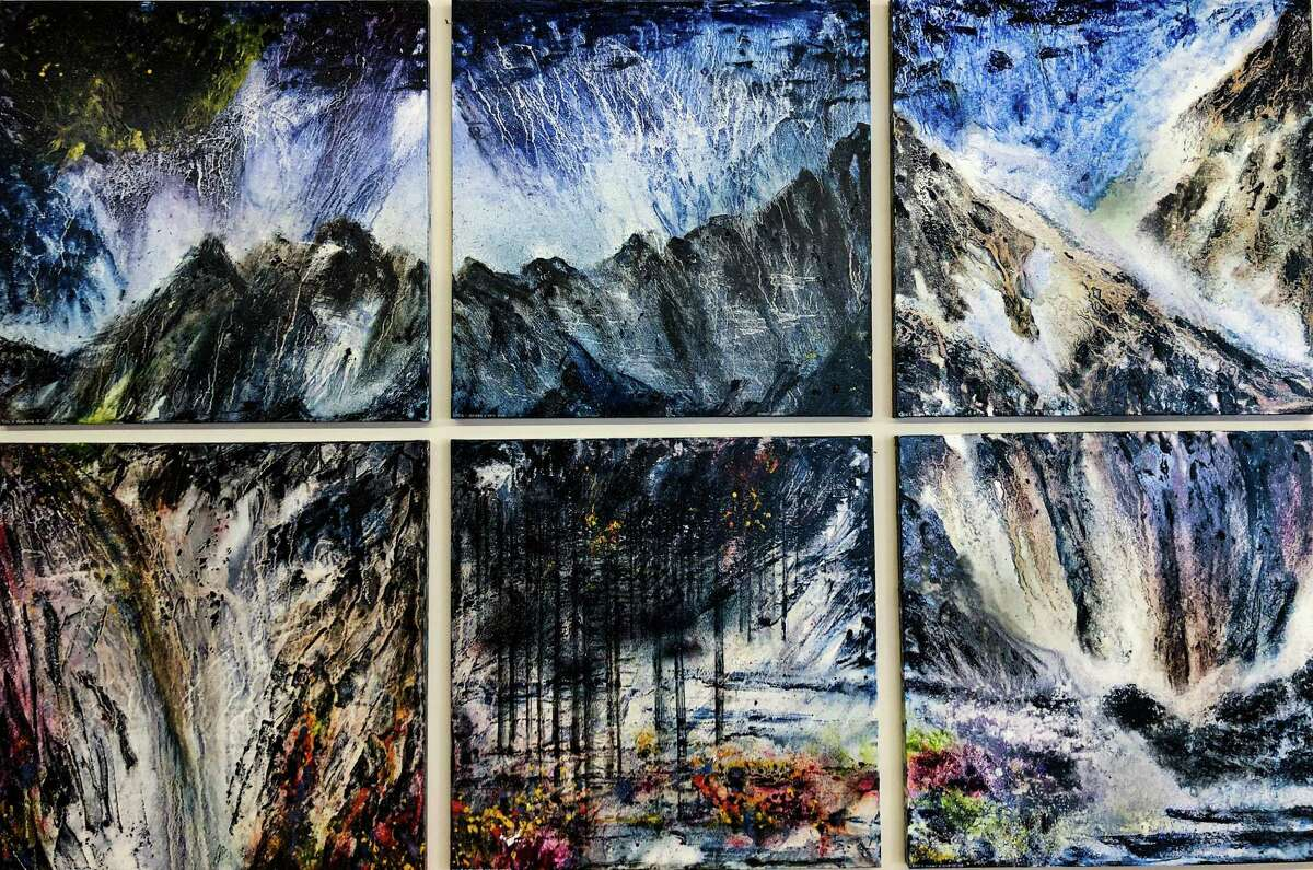 """Westport artist Eric Chiang's landscape """"Ode to Earth I-VI"""" is on display at the Silvermine as part of their Golden Door exhibition."""
