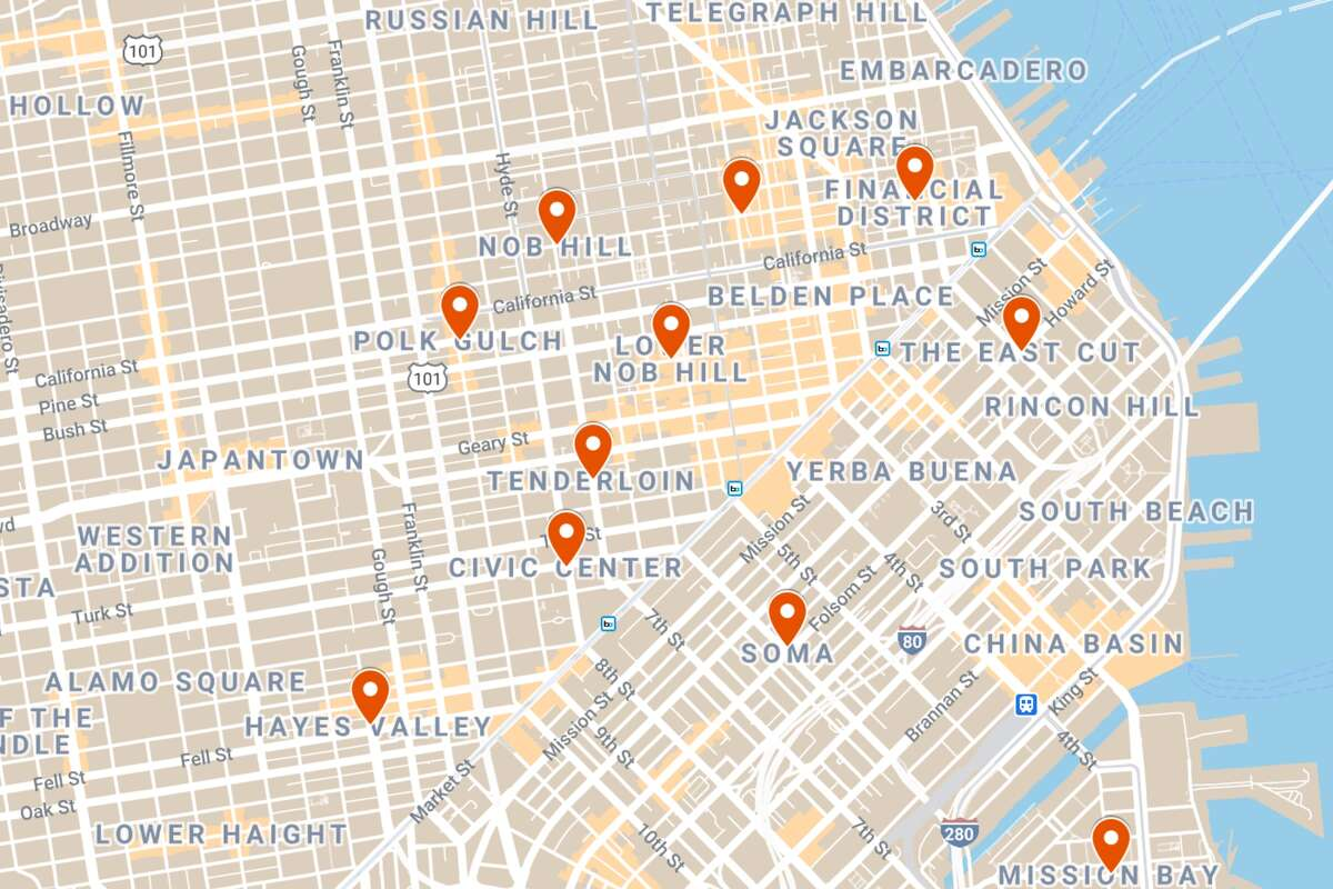 SF's South of Market, Financial District, and its neighboring districts have seen about 85% of restaurants and bars close temporarily or permanently since March, according to MasterCard credit card data trends provided to SF Chamber of Commerce. The percentage only focused on food industries through the end of November around FiDi, SoMa, Nob Hill, Pulk Gulch, and others highlighted in this map.