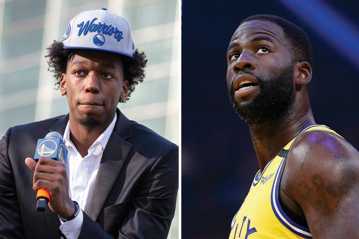 James Wiseman, left, and Draymond Green missed the Warriors' first group practice of training camp Monday after testing positive for the coronavirus, a league source confirmed with The Chronicle.
