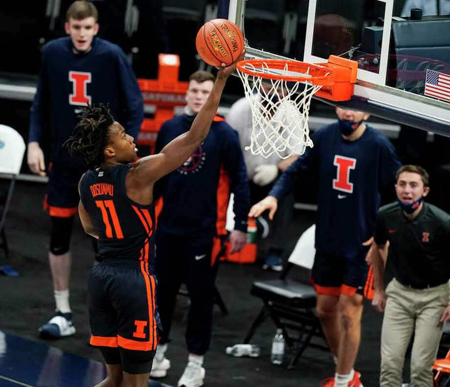 Illinois' Ayo Dosunmu scores off the break during the second half college basketball game against Baylor on Wednesday, in Indianapolis. Photo: Associated Press