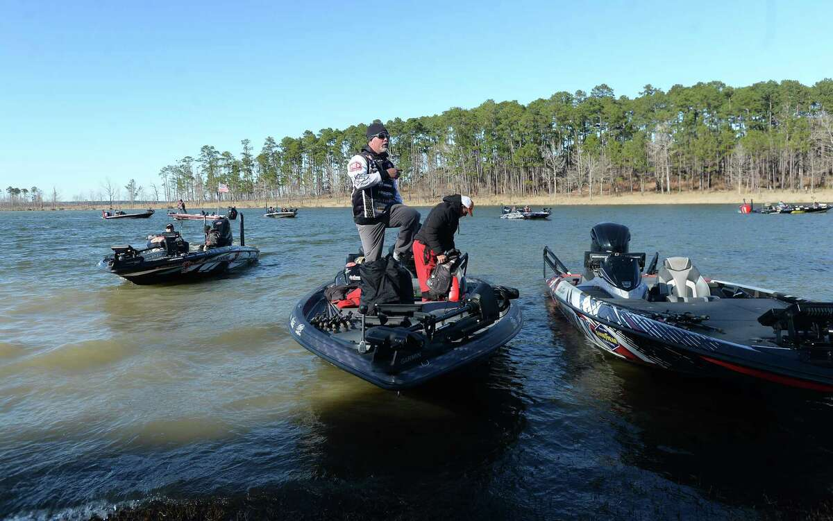 Pro bass fishermen make their way to shore at Lake Sam Rayburn for Friday's weigh-in during the recent tournament at the site. Photo taken Friday, Jan. 24, 2020 Kim Brent/The Enterprise