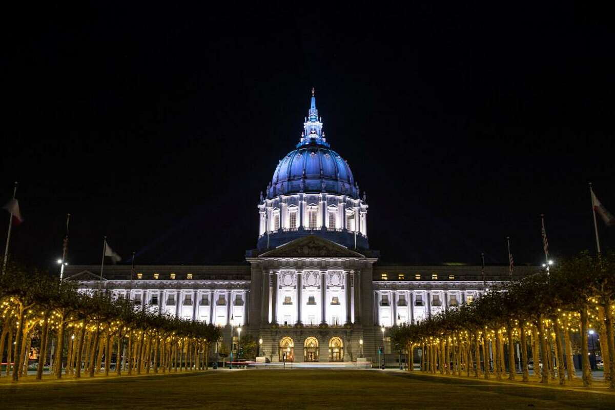 San Francisco City Hall lights up blue in recognition of President-elect Joe Biden and Vice President-elect Kamala Harris on Nov. 7 after the election winner was declared.