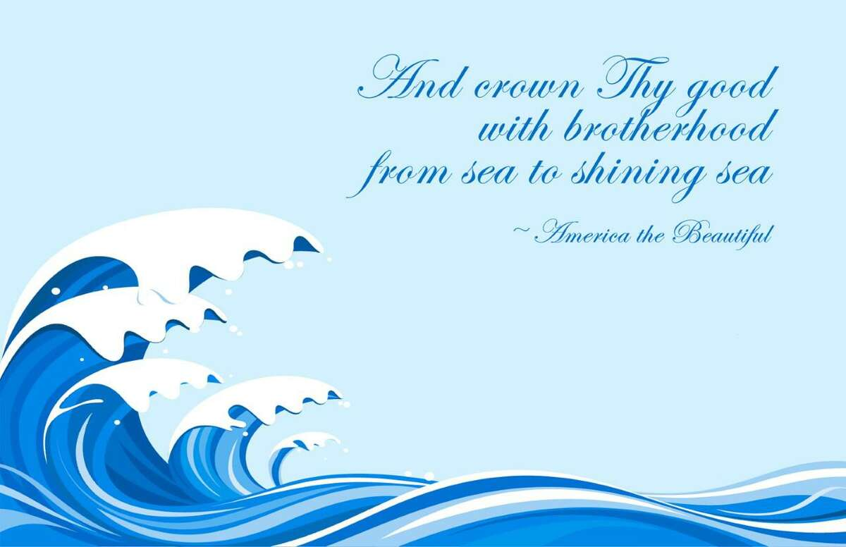 The non-political postcard design featuring a blue wave and words from