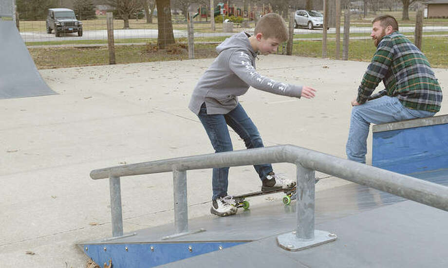 Kase Kindrick, 9, the son of John and Cathy Kindrick of Mount Sterling, practices on his skateboard Monday at the skate park in Jacksonville's Community Park. Photo: Samantha McDaniel-Ogletree | Journal-Courier