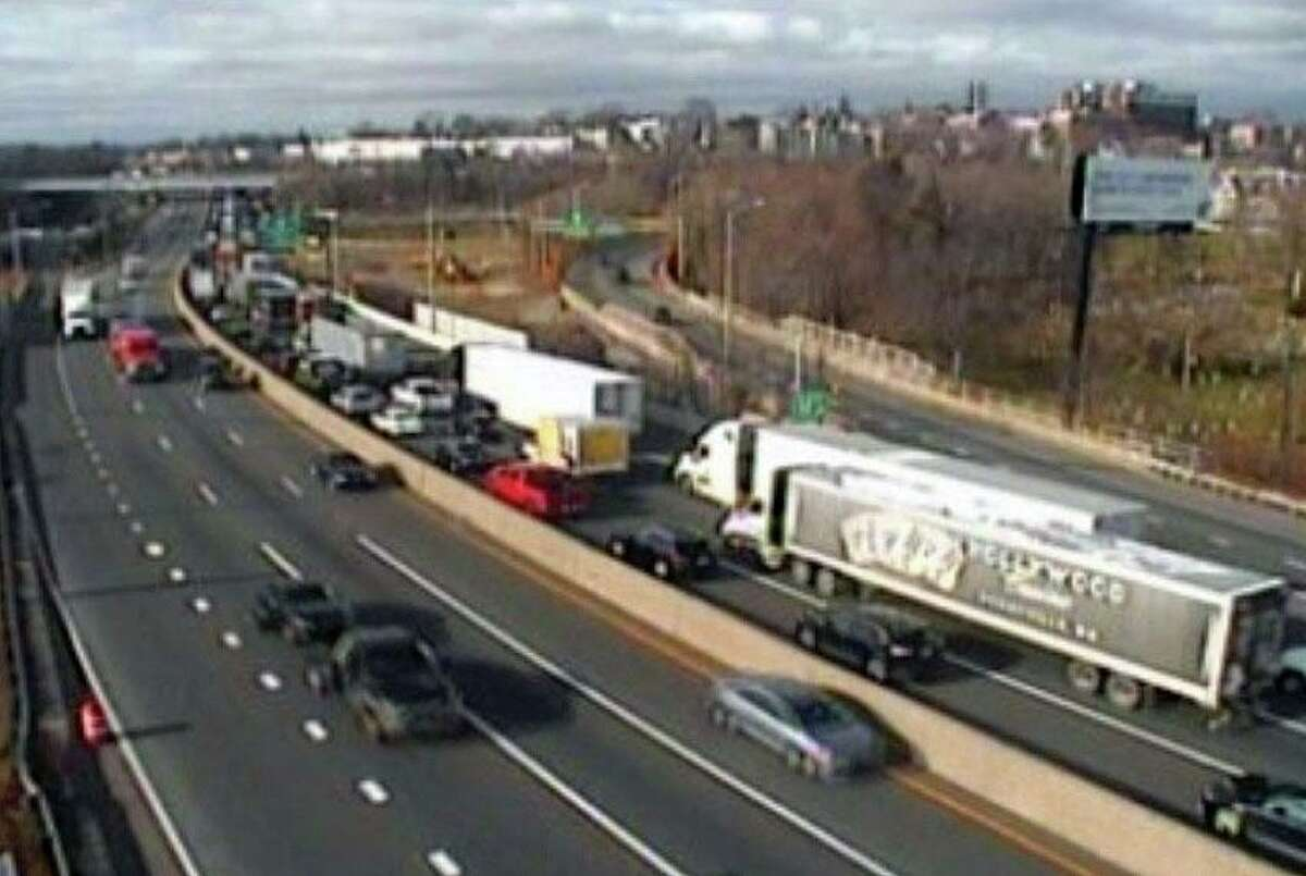 A screenshot of a Connecticut Department of Transportation camera, showing traffic backed up in Norwalk, Conn., on Tuesday, Dec. 8, 2020.