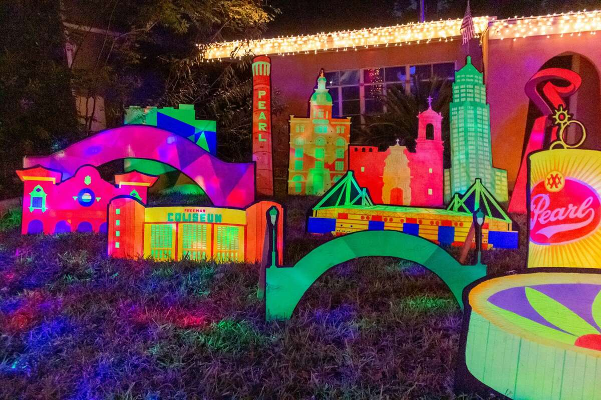 The 45-year-old said he originally planned to display his work at his home during Fiesta, which was postponed to November and then later canceled. He said he pivoted to Christmas, decorating his home with not only his 30 landmarks but also holiday inflatables and thousands of lights.