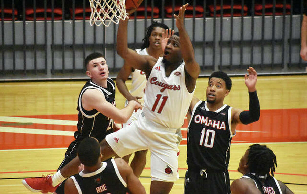 SIUE guard Courtney Carter goes up for a shot in traffic during Saturday's game against the University of Nebraska-Omaha inside First Community Arena in the Vadalabene Center.
