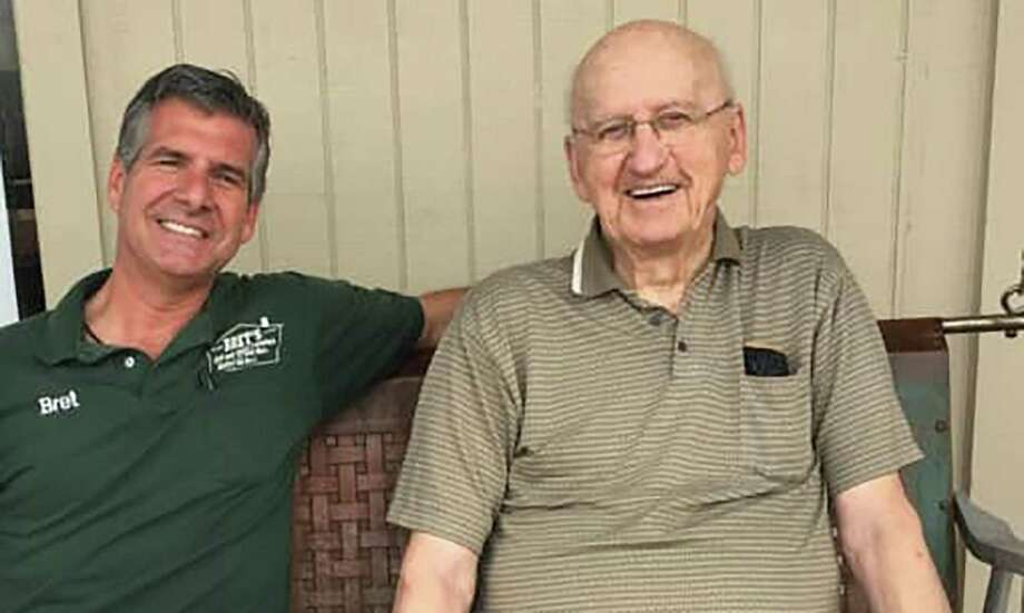 """Bret Bartholet, left, and William """"Bill"""" Wallace, right are pictured. Bartholet and his wife, Marissa, coordinated a parade for Wallace's 100th birthday on Sunday. They struck up a friendship when Wallace bought furniture from Bret's New and Used Furniture in Conroe several years ago. Photo: Courtesy Photo"""
