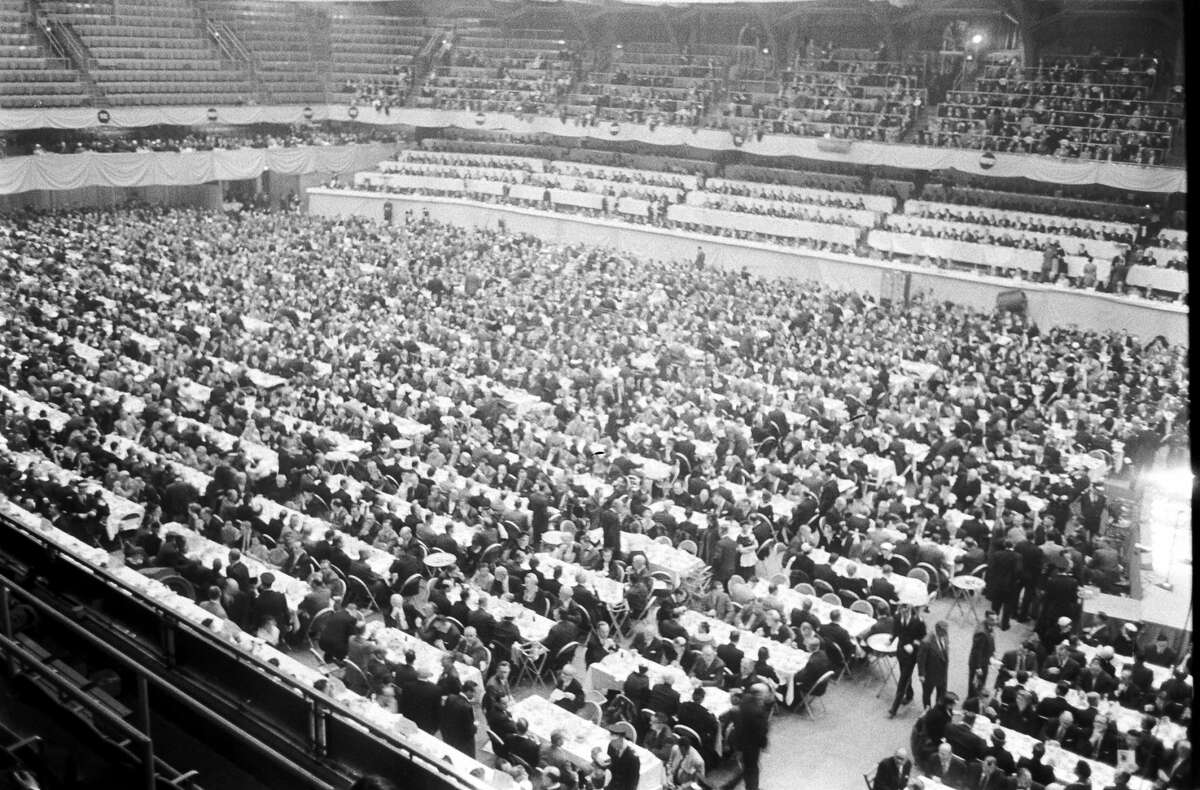 People attend the Republican National Convention at the Cow Palace, San Francisco, 1956.