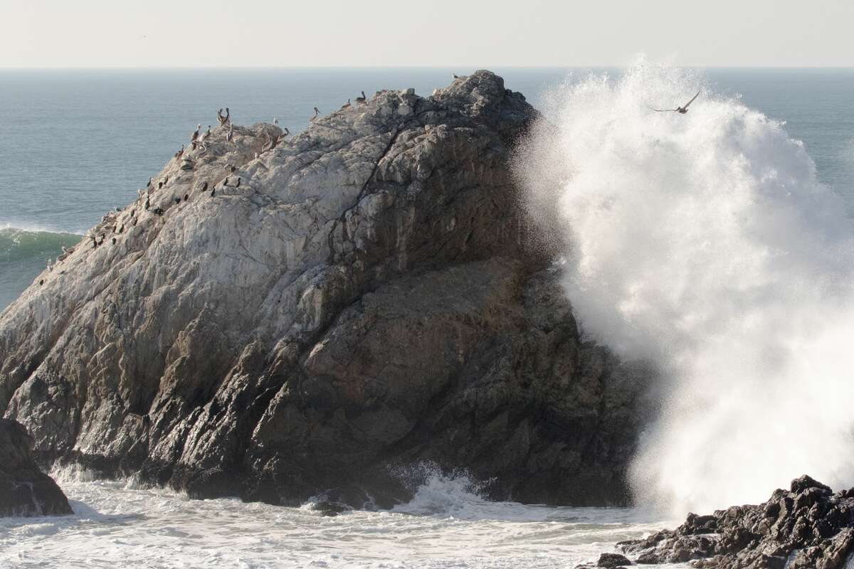 High waves crash against the Seal Rocks at Ocean Beach in San Francisco on Dec. 4, 2020.