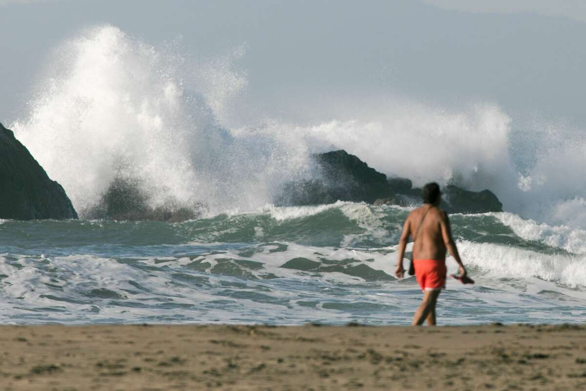 High waves crash offshore on Ocean Beach in San Francisco, California on Dec. 4 2020.