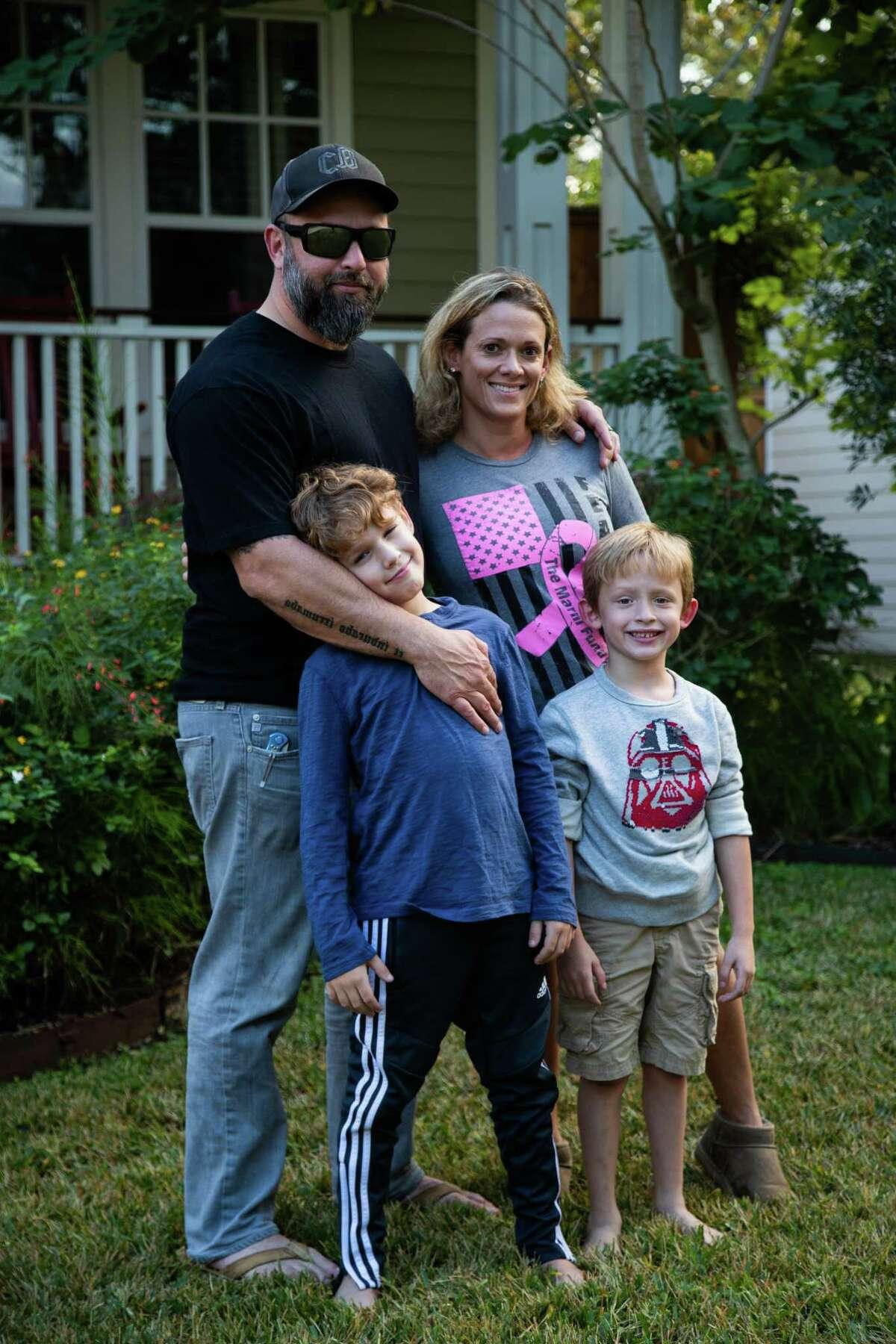 Jeff Weinstock, Sheryl Weinstock, Ellis Weinstock, and Evan Weinstock at their home, Friday, Nov. 13, 2020, in Houston.