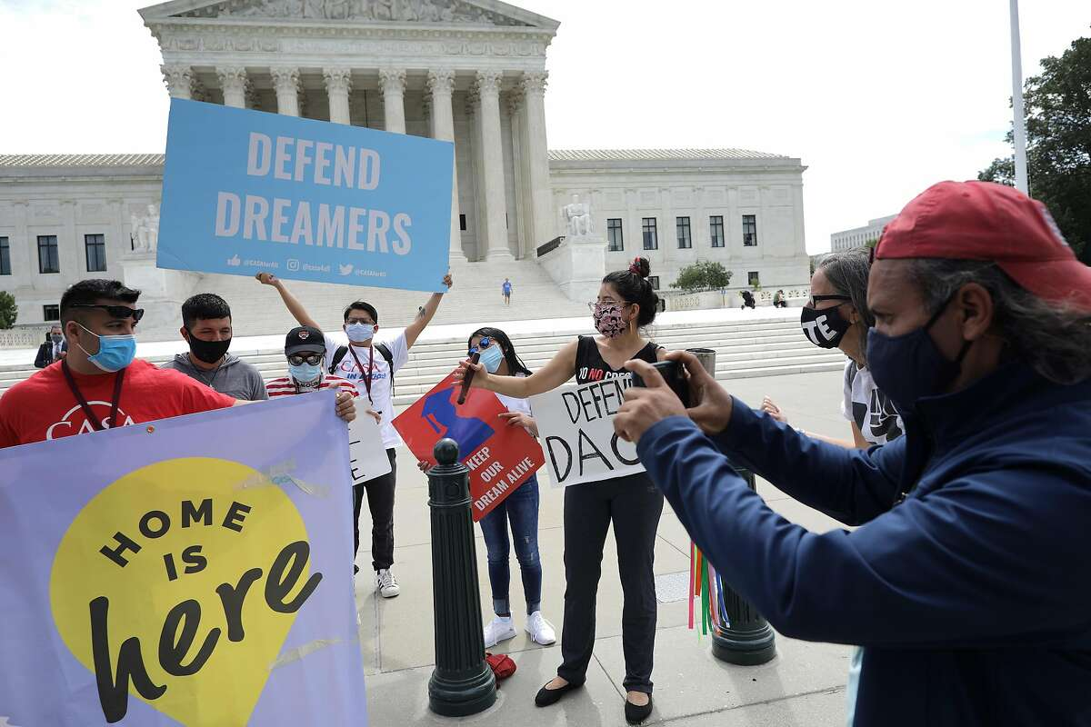 Advocates for immigrants with Deferred Action for Childhood Arrivals, or DACA, rally in front of the U.S. Supreme Court in June.