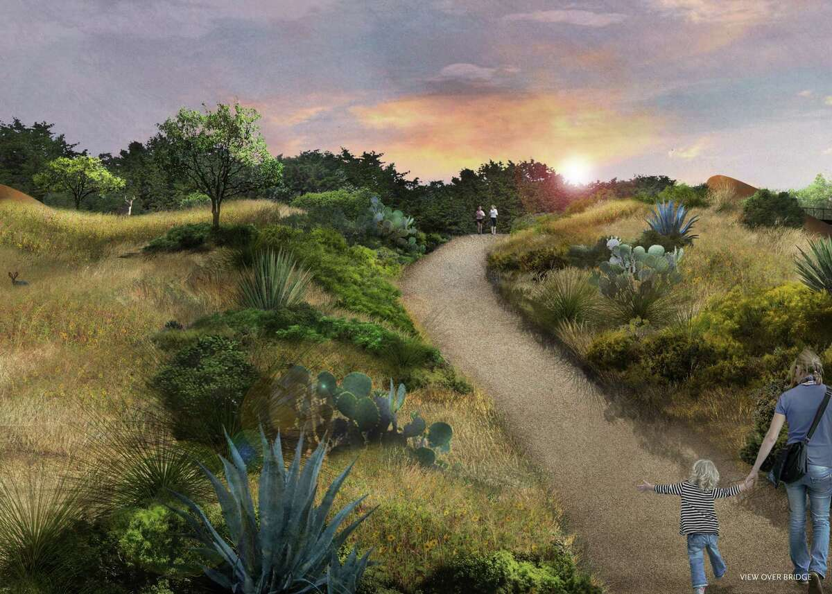 """This is a rendering of how the land bridge will look when all of the vegetation has grown in. I will look """"somewhat raw"""" when it opens, said former Mayor Phil Hardberger, a driving force behind the project at the park that bears his name."""