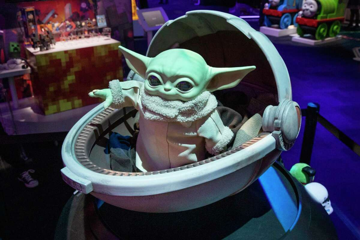 A Baby Yoda toy by Mattel, displayed at Toy Fair New York, in the Javits Convention Center in February.