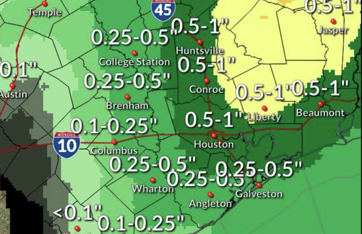 Friday's rain won't be a gully washer.