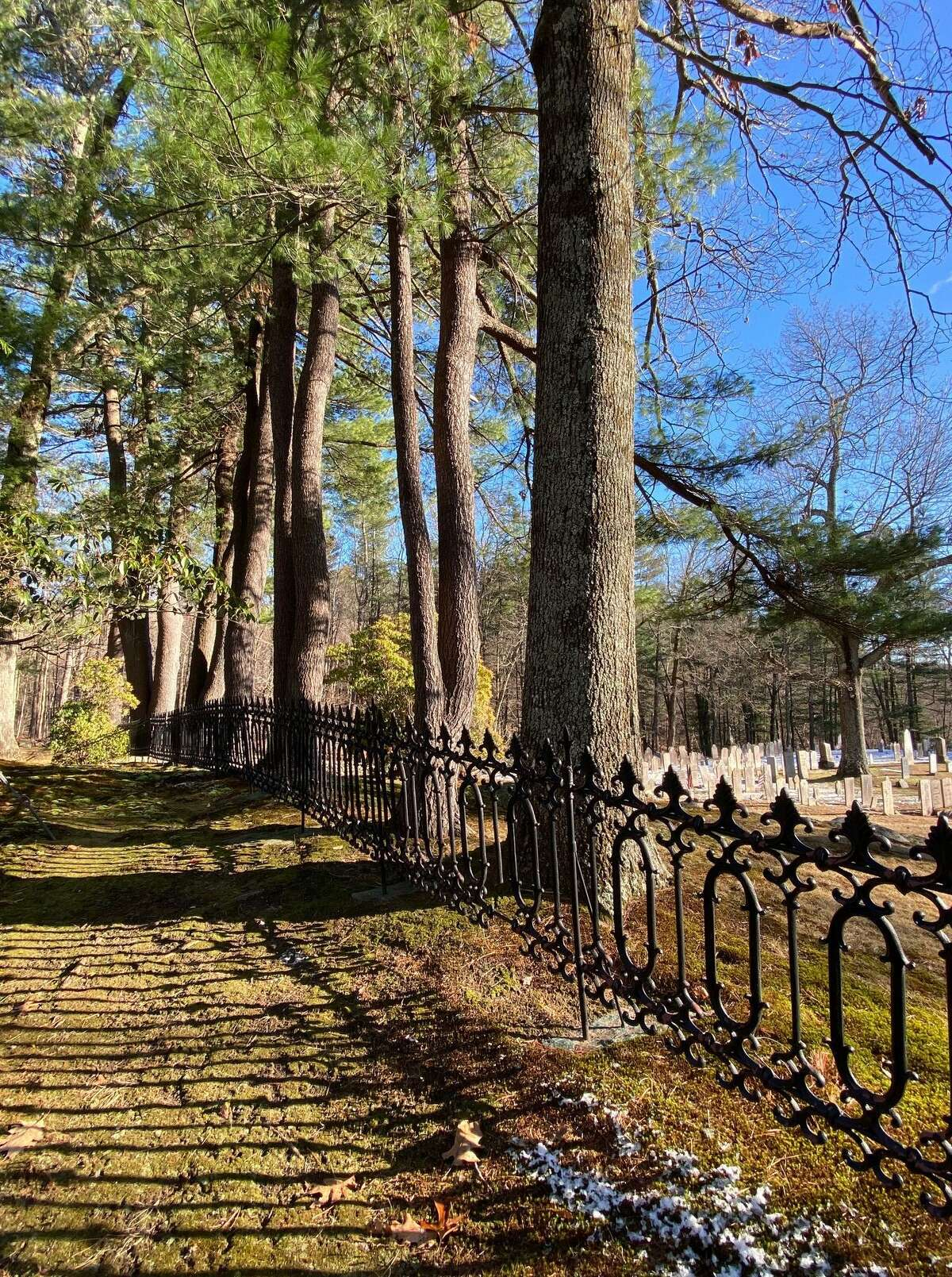 The striking fence that borders Judea Cemetery casts shadows on the browning grass along Judea Cemetery Road.