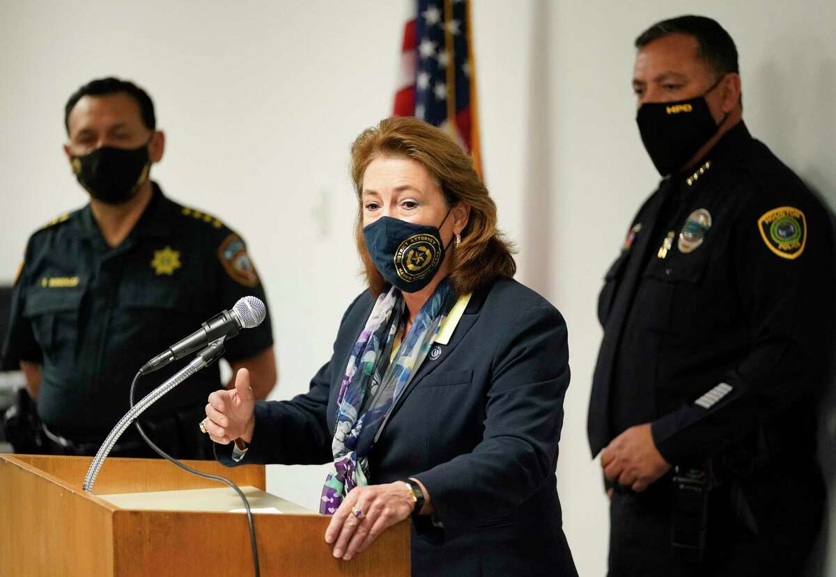Harris County Sheriff Ed Gonzalez, left, Kim Ogg, Harris County District Attorney, and Houston Police Chief Art Acevedo, right, are shown at a media conference about violent road rage incidents held at HPD, 1200 Travis St., Tuesday, Dec. 8, 2020 in Houston.