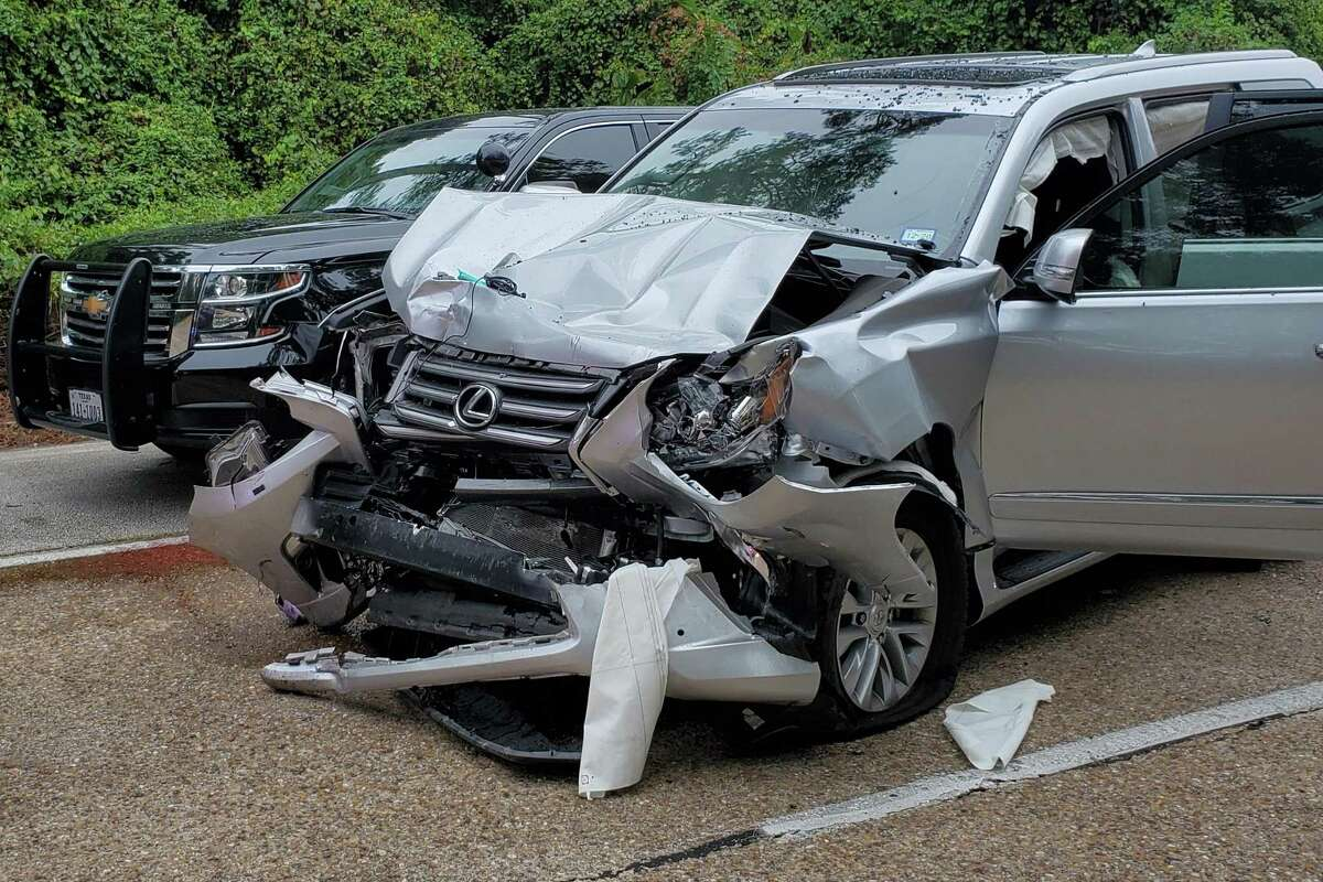 Montgomery County Judge Mark Keough's silver SUV was damaged in a Sept. 10 crash that is still under investigation by the Texas Department of Public Safety. The black vehicle is a Montgomery County constable's Chevrolet Tahoe that Keough had crashed into, according to DPS.