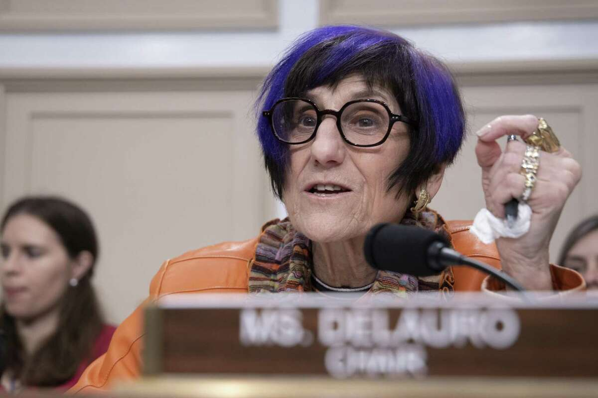 Chair of the House Appropriations Subcommittee on Labor, Health and Human Services, and Education Rep. Rosa DeLauro (D-CT) speaks during testimony by HHS Secretary Alex Azar on February 26, 2020 in Washington, DC. DeLauro held a virtual hearing on Dec. 8, 2020 about the Hyde amendment. (Photo by Tasos Katopodis/Getty Images)