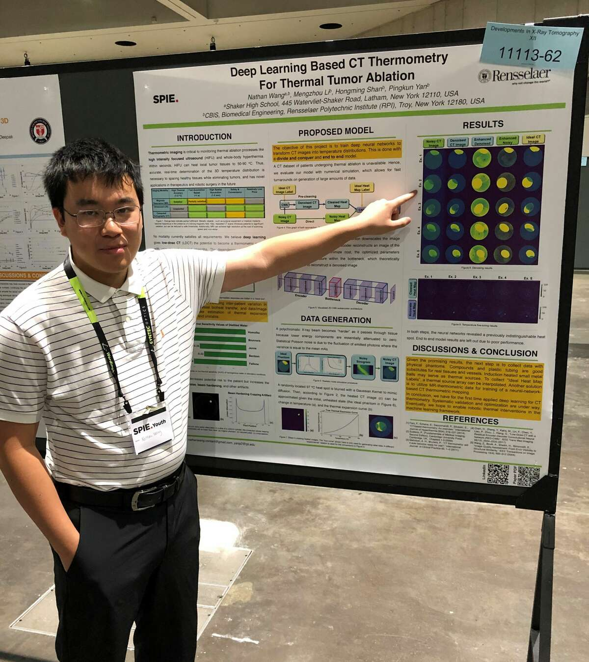 As a Shaker High School student, Nathan Wang of Latham, N.Y. was a contestant at the SPIE convention and is pictured here at the convention in San Diego in August 2019. Wang proposed legislation on artificial intelligence education which Congress included in the Fiscal Year 2021 National Defense Authorization Act.