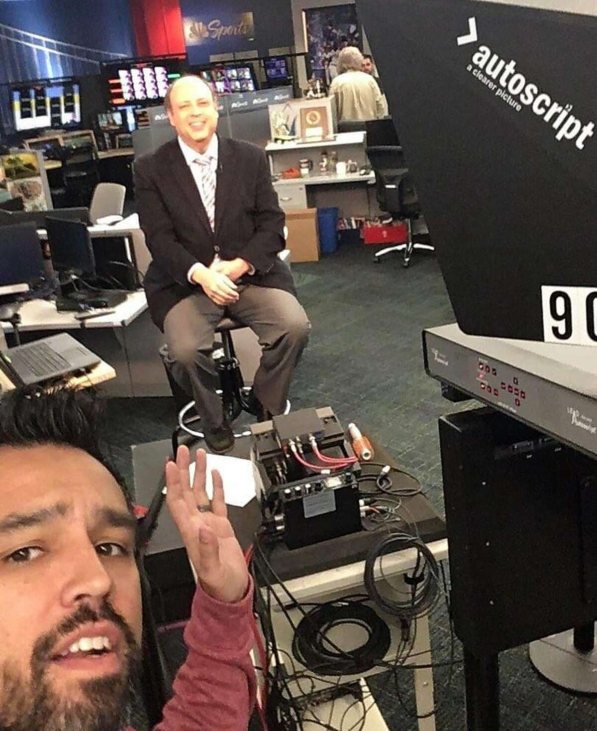 Giants beat writer Henry Schulman, with NBC Sports Bay Area host Ahmed Fareed, at the NBCSBA studio in San Francisco before Schulman did a live shot for the MLB Network.