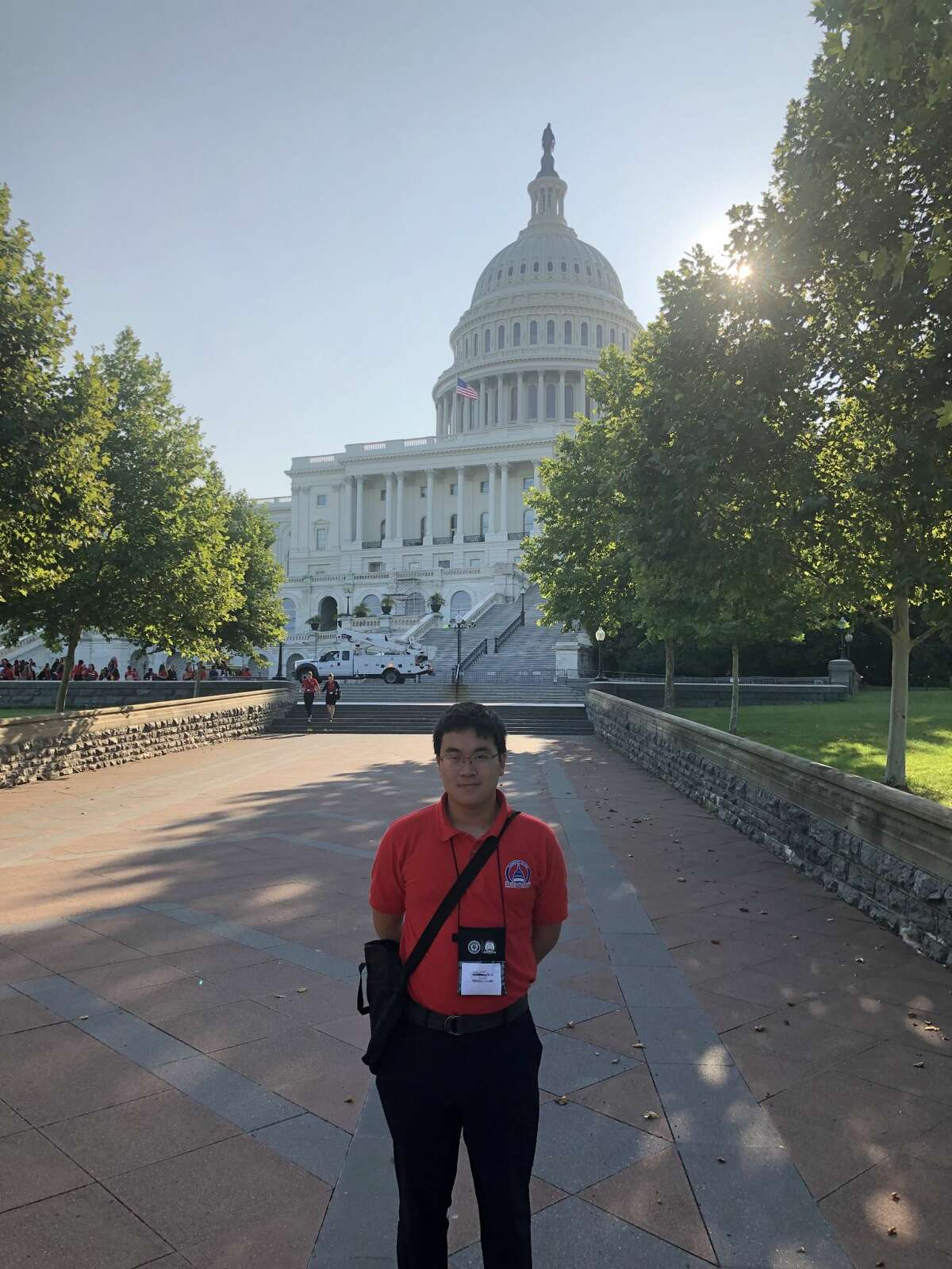 Nathan Wang stands in front of the U.S. Capitol. Wang, a Johns Hopkins University freshman from Latham, N.Y., proposed legislation to improve artificial intelligence education and the bill was included in Congress's Fiscal Year 2021 National Defense Authorization Act.