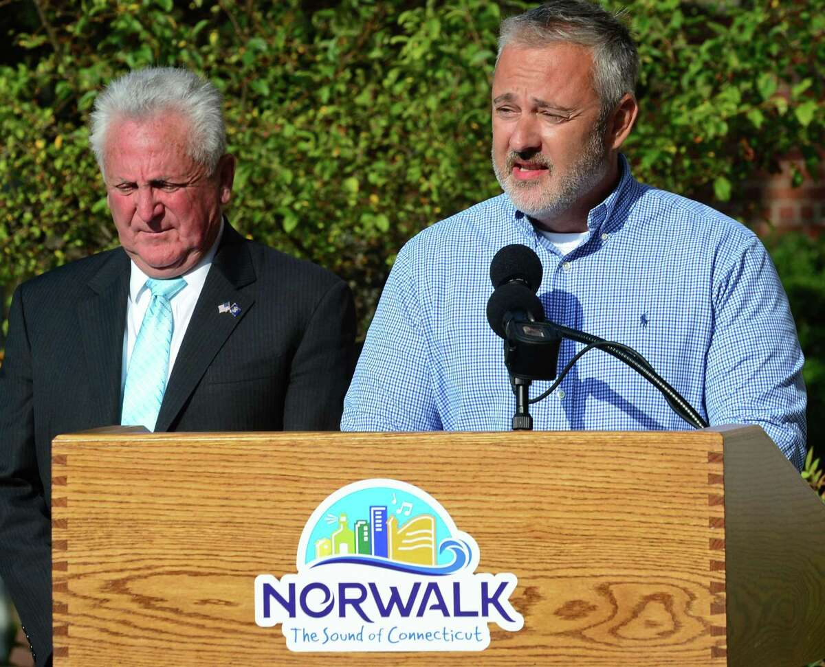 Norwalk Common Council John Kydes speaks at a September 11 remembrance event in Norwalk in 2019.