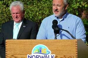 Norwalk Common Council member John Kydes alongside Mayor Harry Rilling on September 11, 2019, in Norwalk, Conn.