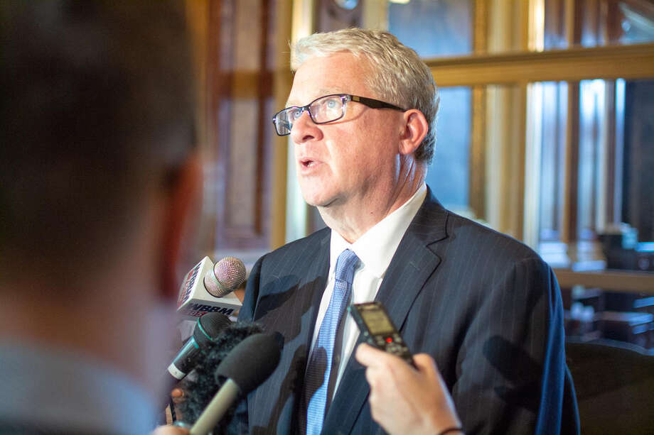 House Minority Leader Jim Durkin, R-Western Springs, fields questions from reporters at the Illinois Capitol in Springfield in 2019. Photo: Jerry Nowicki   Capitol News Illinois