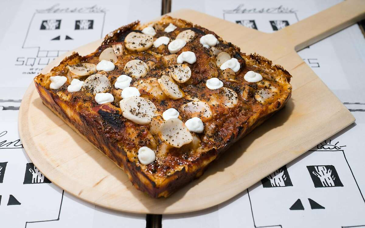 Mapo pizza from Sunset Squares, a new Detroit-style pizzeria in San Francisco's SoMa District from Dennis Lee.
